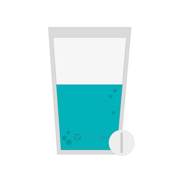 glass with water and tablet icon