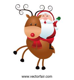 santa claus on reindeer icon