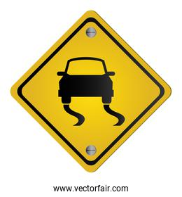 slippery road traffic sign icon