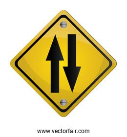 two way street traffic sign icon