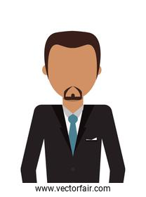 faceless man with facial hair wearing suit icon