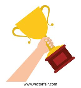 hand holding trophy cup icon