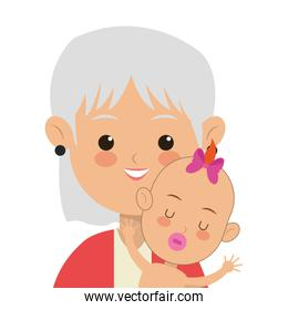 elder woman carrying baby icon