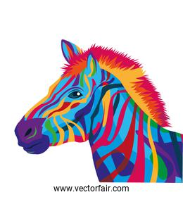 colorful zebra drawing icon
