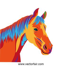 colorful horse drawing icon