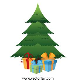 christmas tree and gifts icon