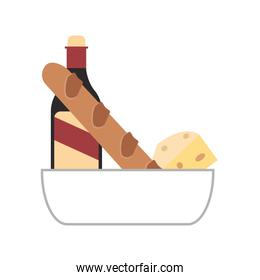 baguette wine and cheese icon