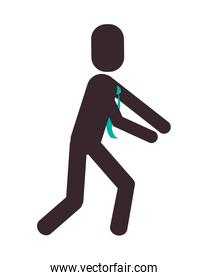 businessman leaning pictogram icon