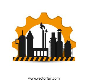 oil refinery with gear icon