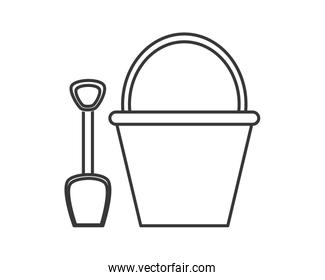 bucket and shovel icon over white