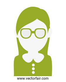 faceless woman with glasses portrait icon