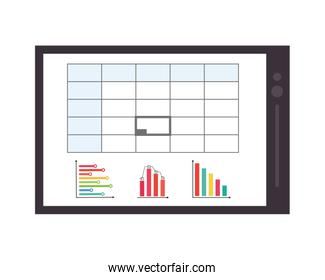 graph chart on tablet screen icon