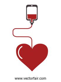 blood bag and cartoon heart icon