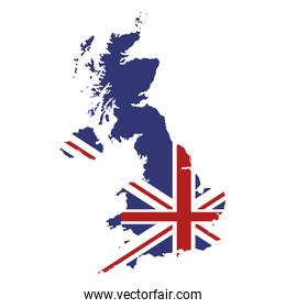 great britain map and flag icon