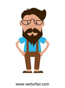 hipster style man cartoon design