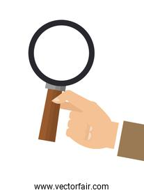 hand holding magnifying glass icon