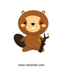 cute beaver cartoon icon