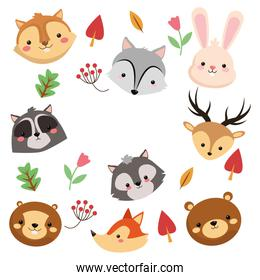 forest animals pattern icon