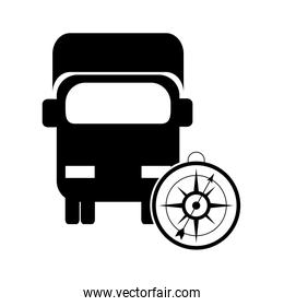 truck or van with compass icon