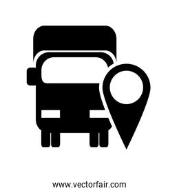 truck or van with gps map pointer icon