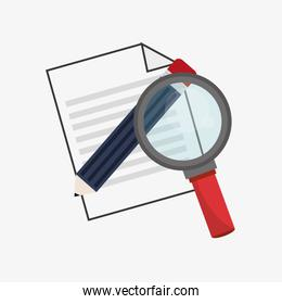 flat design paper document with pencil and magnifying glass icon