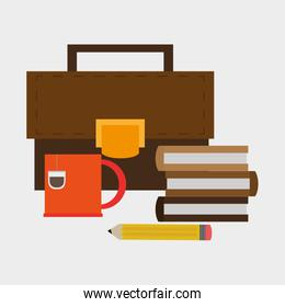 books and briefcase office related items icon