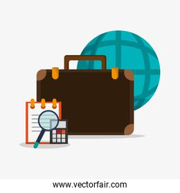 notepad with calculator with earth globe diagram briefcase and m