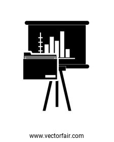 graph chart and file folder icon