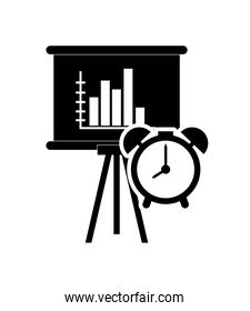 graph chart and file clock icon