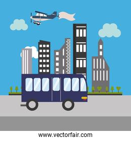 city bus and buildings icon
