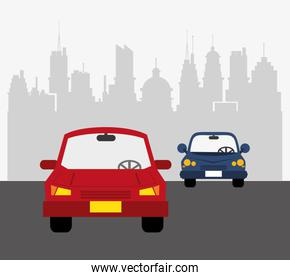 cars with city background  transport image
