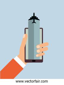 cellphone and airplane icon