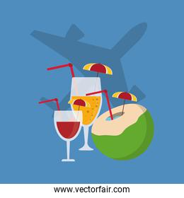 airplane and cocktails travel related icons image