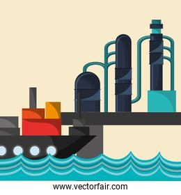 petroleum oil extraction and refinement related icons image