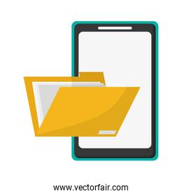 cellphone and file folder isolated icon