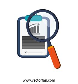 graph chart and magnifying glass icon