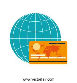 earth globe diagram and credit card icon