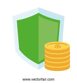 shield and coins  icon
