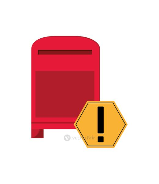 mailbox and warning sign icon