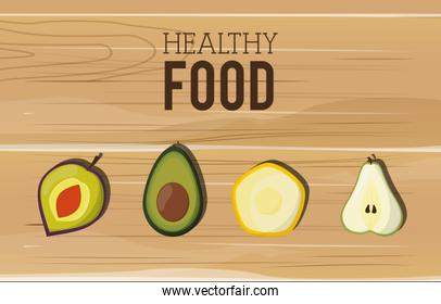 assorted healthy food icons emblem