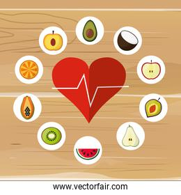 assorted healthy food and heart cardiogram icons image