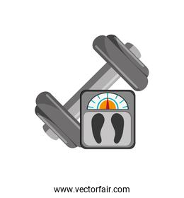 dumbbell and weight scale  icon