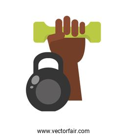 hand holding dumbbell and kettlebell icon