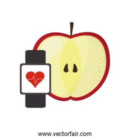 apple and heart rate wrist monitor icon