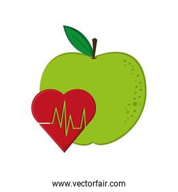 apple and  heart cardiogram icon