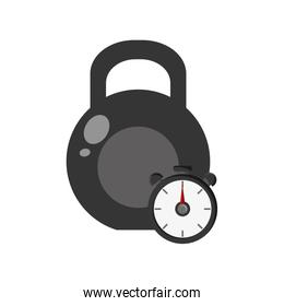 kettlebell and chronometer icon