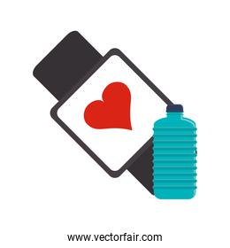 heart rate wrist monitor and sports bottle