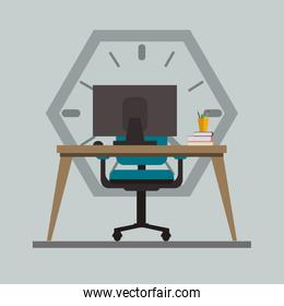computer with office related icons