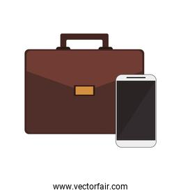 briefcase and cellphone icon