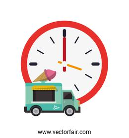 wall clock and ice cream truck icon